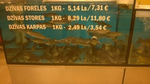 Check the prices,. There's trout, sturgeon and carp